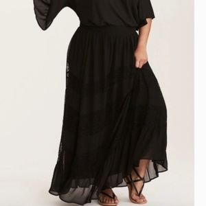 Torrid black chiffon lace overlay maxi skirt 2X